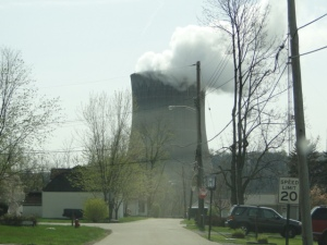 Cooling towers at the Shippingport Nuclear Power Plant