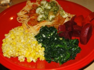 canned tomato sauce, frozen pesto, corn, and spinach, and fresh beets