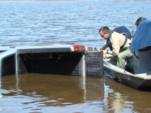 """FWC law enforcement officer assists the """"human"""" wildlife to pull a truck out of the water"""