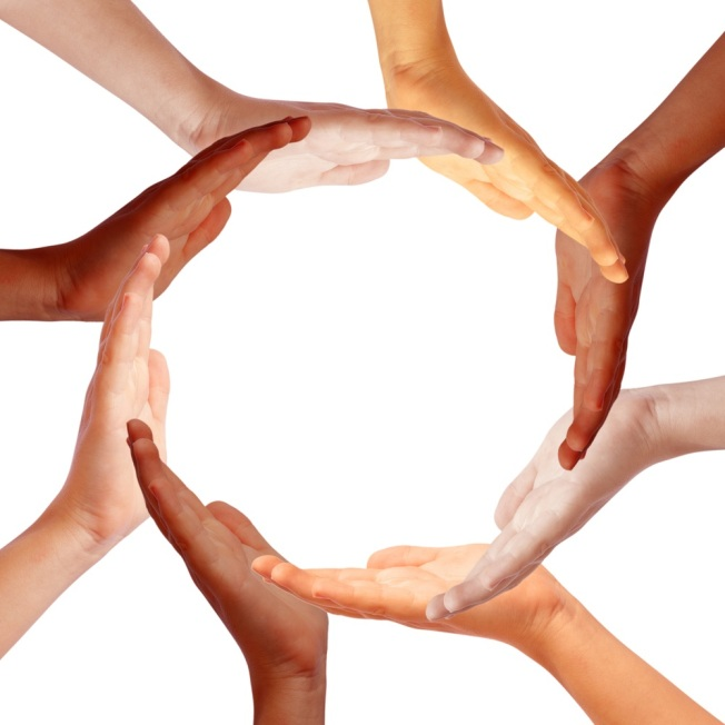 Hands circle,internationl teamwork concept